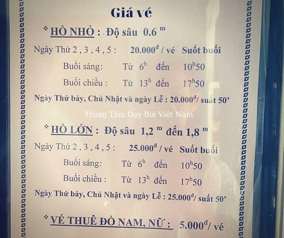 Giá vé hồ bơi kỳ đồng